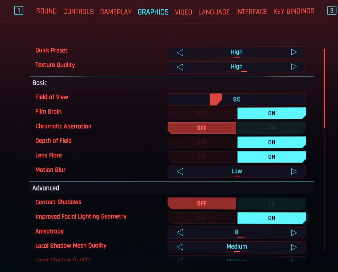 Cyberpunk 2077 Best Game Settings