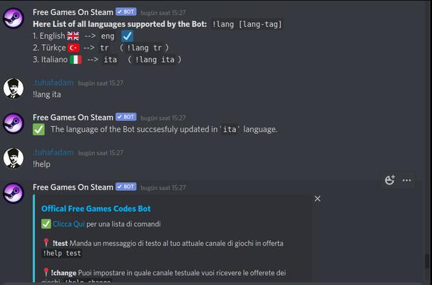 """Free Game Codes"" Discord Bot now supports Italian image"